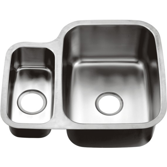 "Dawn Sinks Combination Series 24-3/4"" W Stainless Steel Undermount Sink, Small Bowl On Left"