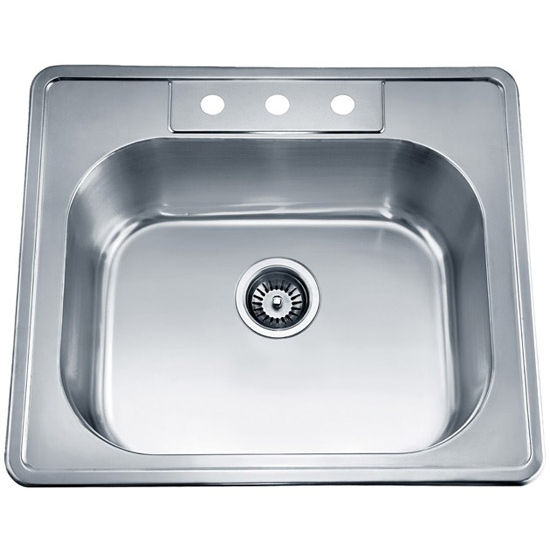 "Dawn Sinks Single Drop In Series 25"" W Stainless Steel Top Mount Sink, 25"" W X 22"" D x 8"" H"