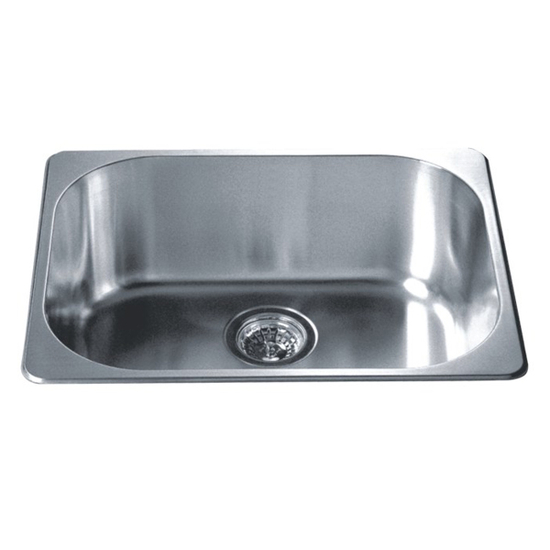 "Dawn Sinks Single Drop In Series 22"" W Stainless Steel Top Mount Sink, 22"" W X 17-3/4"" D x 8"" H"