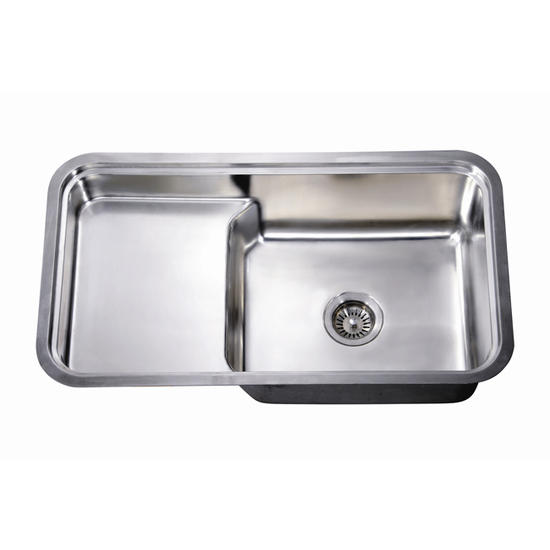 "Dawn Sinks Single Series 18 Gauge Stainless Steel Undermount Sink, 33"" W x 18-1/2"" D x 10"" H"