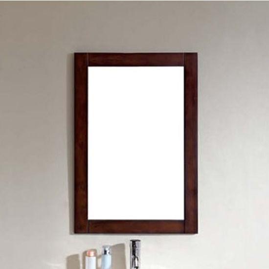 """Dawn Sinks Framed Wood Mirror in Brown Black Finish, 21-5/8""""W X 11/16 ..."""