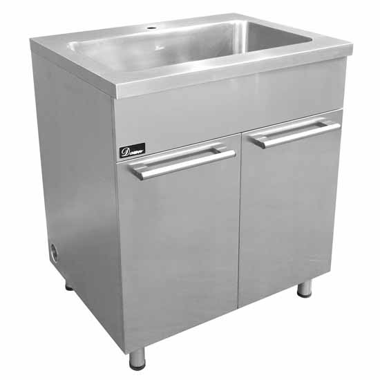 Stainless steel sink base cabinet with built in garbage for Stainless steel kitchen base cabinets