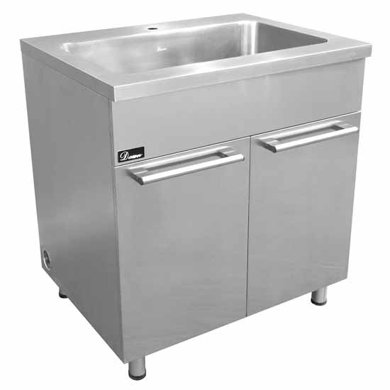 stainless steel sink base cabinet with built in garbage can in 18 gauge steel by dawn sinks. Black Bedroom Furniture Sets. Home Design Ideas