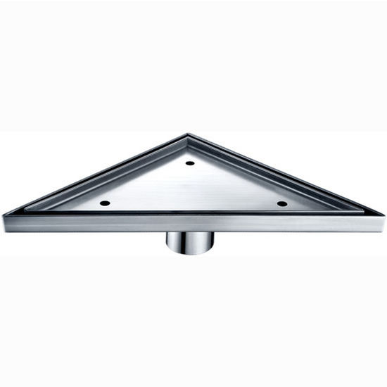 """Dawn Sinks® Colorado River Series Triangle Stainless Steel Shower Drain in Polished Satin Finish, 14-1/8"""" W x 7-3/16"""" D x 3-1/8"""" H"""