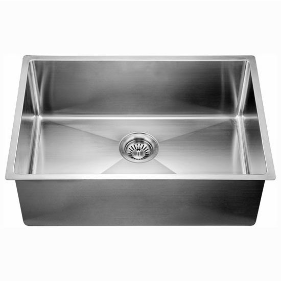 "Dawn Sinks® Kitchen Stainless Steel Undermount Extra Small Corner Radius Rectangle Single Bowl in Polished Satin Finish, 26-1/2"" W x 18"" D x 10"" H"