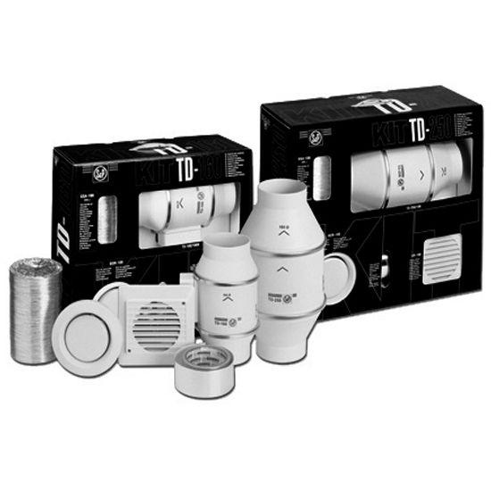 """S&P TD100 Standard Exhaust Kit (Single Vent), 4"""" Duct w/ 9-1/8""""W Fan"""