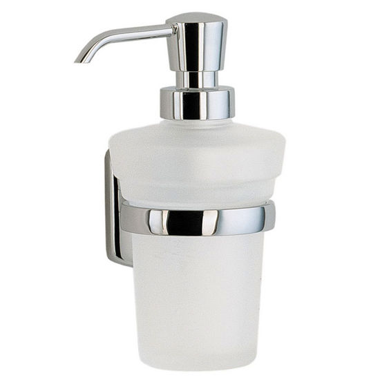 "Smedbo Cabin Polished Chrome Soap Dispenser Holder with Frosted Glass Container Wall Mount 6�"" H"