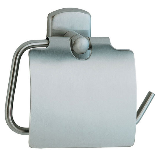"Smedbo Cabin Brushed Chrome Toilet Roll Holder with Lid European Style 1�"" Depth"