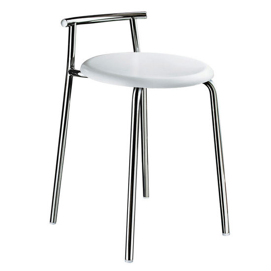 Smedbo Bathroom Shower Chair with Stainless Steel Frame and White Werzalit Seat