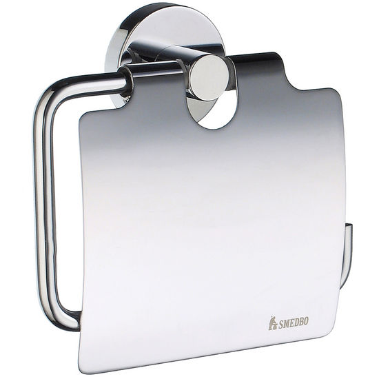 "Smedbo Home Line European Style Polished Chrome Toilet Roll Holder with Lid 1-1/2"" D"