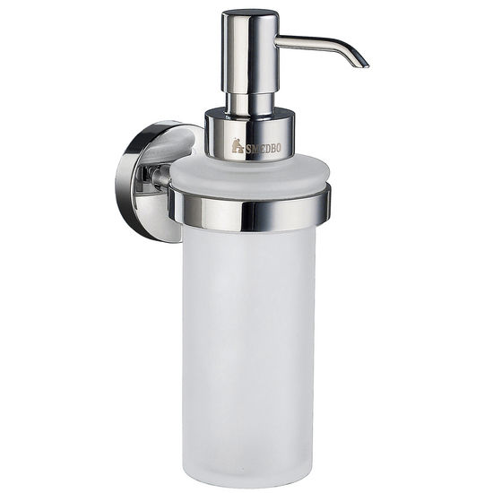 "Smedbo Home Line Polished Chrome Holder with Frosted Glass Soap Dispenser 7"" H"