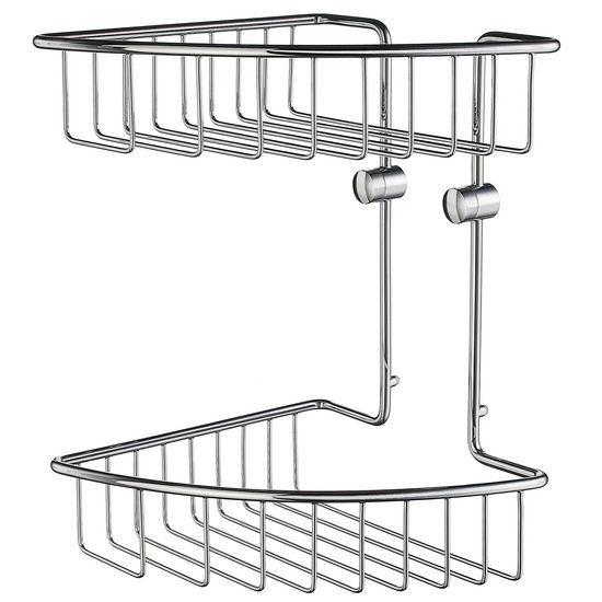 "Smedbo Home Line Polished Chrome Double Tier Soap Basket 8-1/8"" W x 8-1/8"" D x 11-5/8"" H"