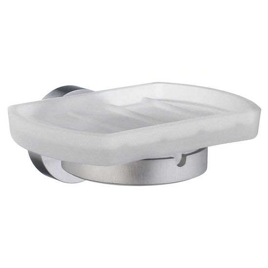 Smedbo Home Line Brushed Chrome Holder with Frosted Glass Soap Dish