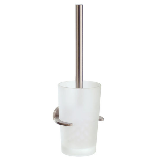 "Smedbo Loft Brushed Nickel Wallmount Toilet Brush Set with Frosted Glass Container 15""L"