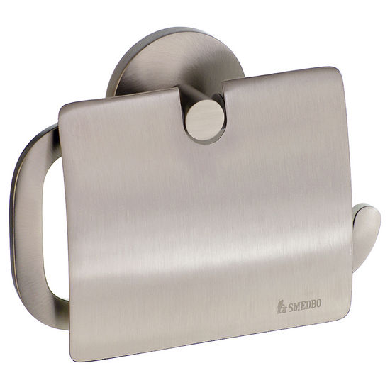 "Smedbo Loft Brushed Nickel European Style Toilet Roll Holder with Lid 1�""Depth"
