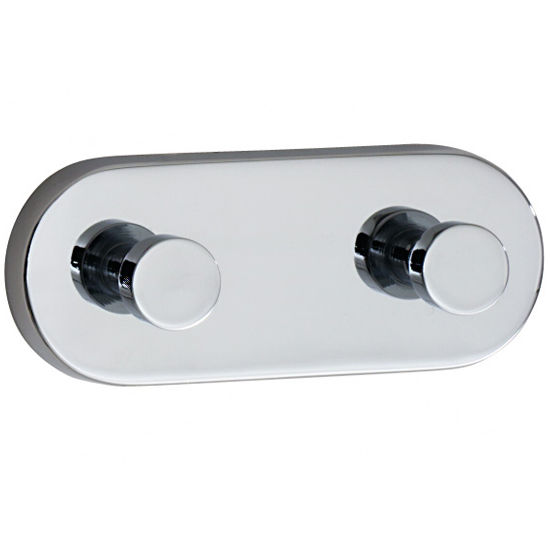 "Smedbo Loft Polished Chrome Double Towel Hook 4"" D"