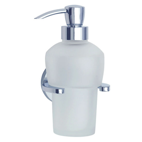 Smedbo Loft Polished Chrome Wallmount Holder with Frosted Glass Soap Dispenser