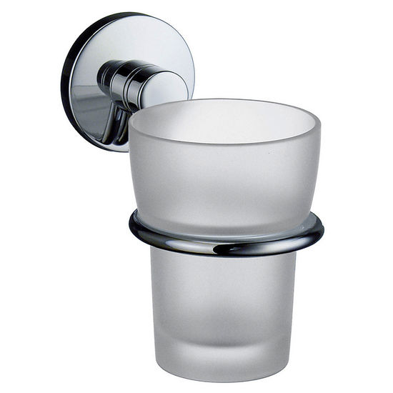 "Smedbo Studio Polished Chrome Holder with Frosted Glass Tumbler 4�""D"