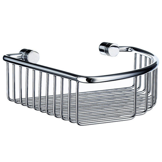"Smedbo Studio Polished Chrome Corner Soap Basket 7�"" W x 2"" H x 7-7/8"" D"