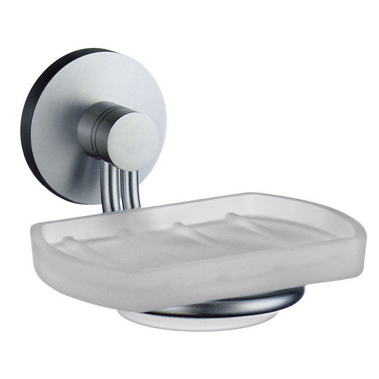 "Smedbo Studio Brushed Chrome Holder wih Frosted Glass Soap Dish 4�""D"