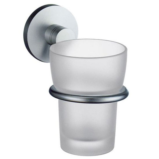 """Smedbo Studio Brushed Chrome Holder with Frosted Glass Tumbler 4�""""D"""