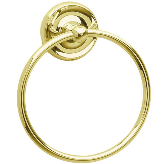 "Smedbo Villa Polished Brass Towel Ring 6"" W"