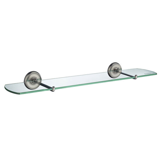 Smedbo Villa Brushed Nickel Glass Bathroom Shelf 24""