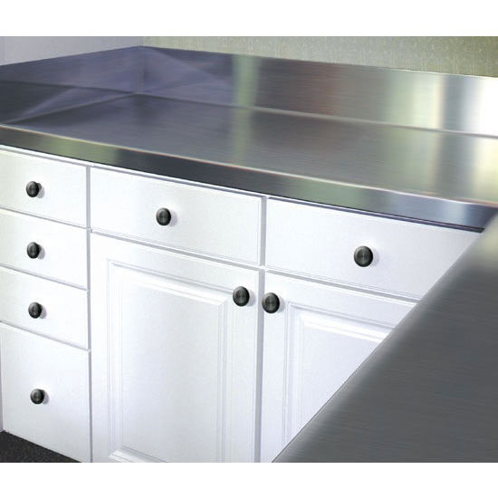 Countertops with 5 39 39 backsplash no drip smart finish for Stainless steel countertop with integral sink