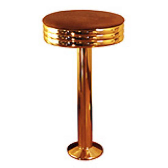 Sass Stools #1010-C - 16'' to 30'' Polished Copper Pedestal and Seat Diner Stool
