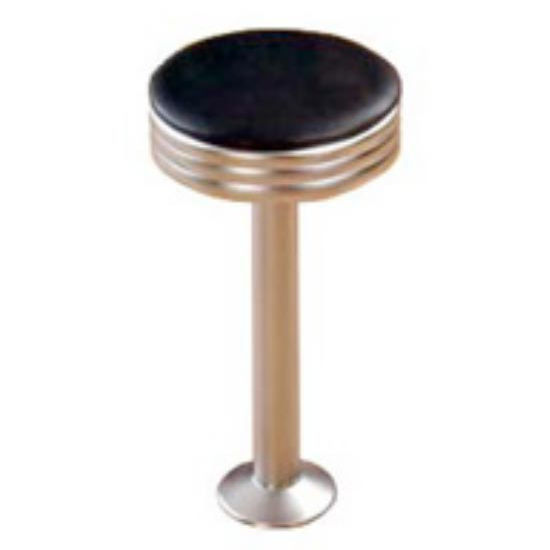 Sass Stools #1010-S - 16'' to 30'' Satin Chrome Pedestal and Seat Diner Stool