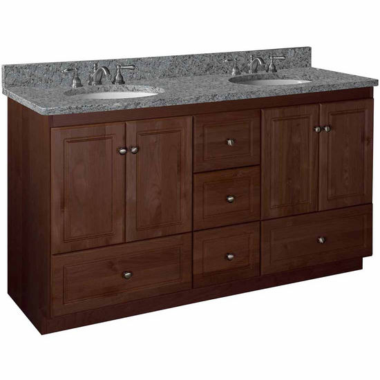 Strasser Woodenworks 60 Quot W Simplicity Vanity Double Bowl In