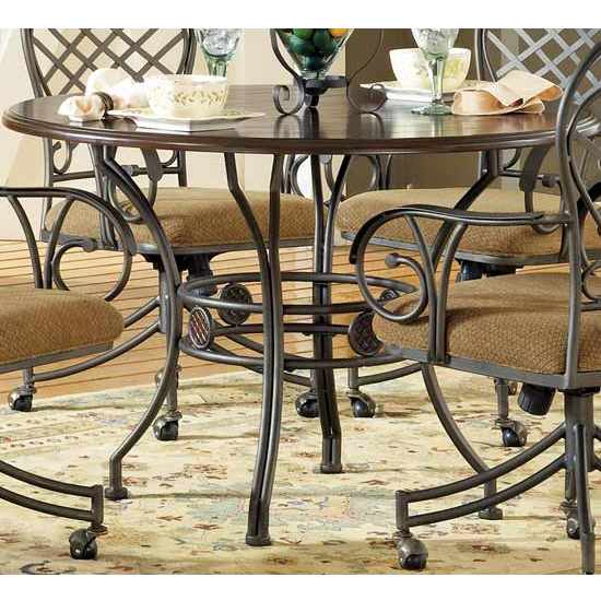 Steve Silver Wimberly Table, Metal Base and Dark Cherry Finish
