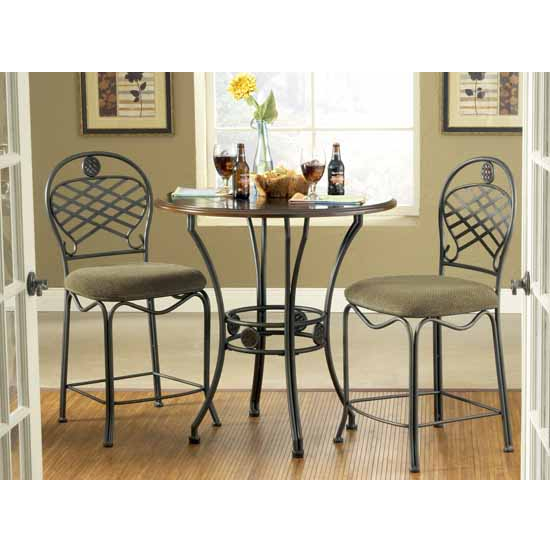 Steve Silver 3 Piece Wimberly Counter Dining Set, 2 Chairs, Metal Base and Dark Cherry Finish