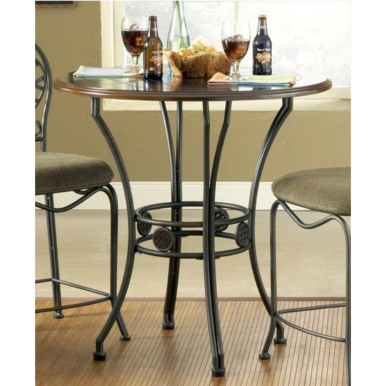 Steve Silver Wimberly Counter Table, Metal Base and Dark Cherry Finish