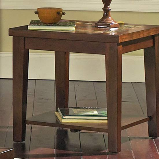 Steve Silver Davenport Slate End Table, Dark Cherry Finish