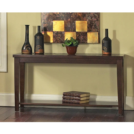 Steve Silver Davenport Slate Sofa Table, Dark Cherry Finish