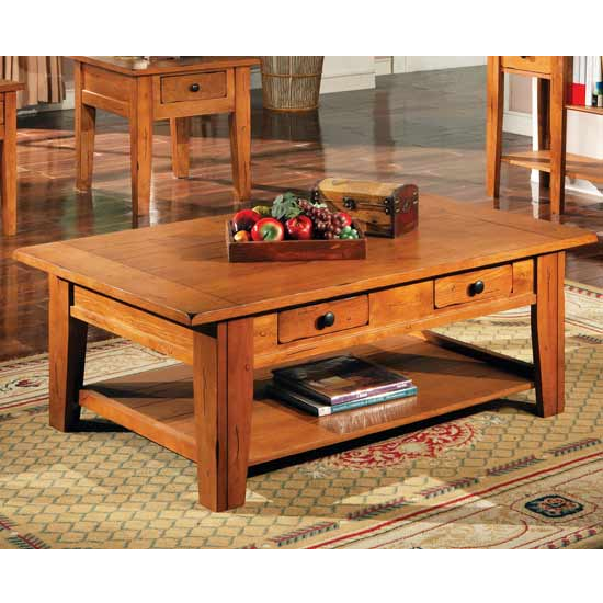 Steve Silver Liberty Cocktail Table, Oak Finish