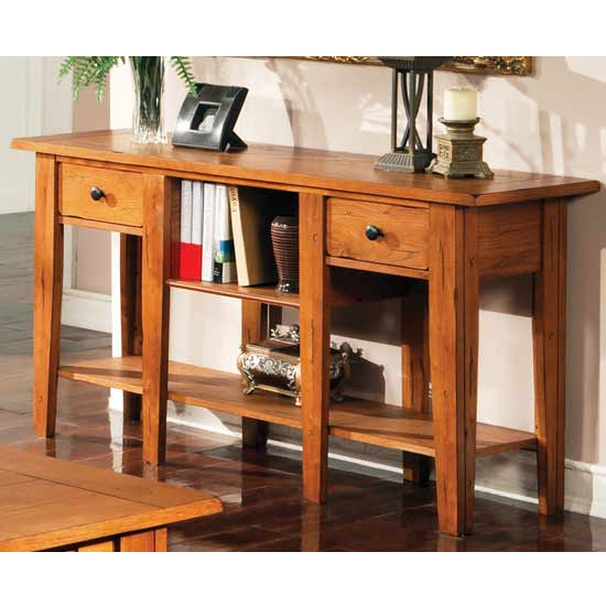 Steve Silver Liberty Sofa Table, Oak Finish