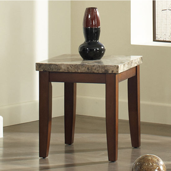 Steve Silver Montibello End Table, Marble Top and Cherry Base