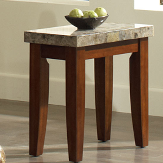 Steve Silver Montibello Chairside End Table, Marble Top and Cherry Base