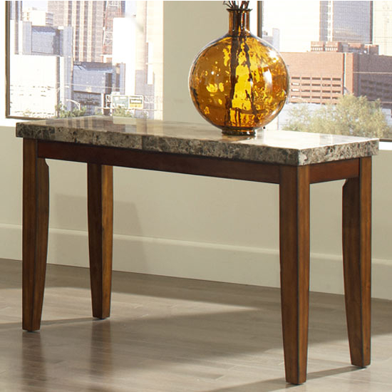 Steve Silver Montibello Sofa Table, Marble Top and Cherry Base