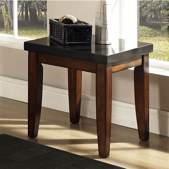 Steve Silver Granite Bello End Table, Marble Top and Cherry Base