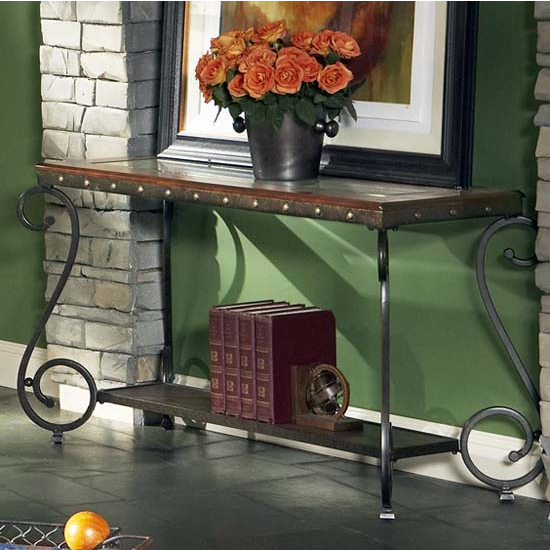 Steve Silver Ellery Sofa Table, Metal Base and Glass Top