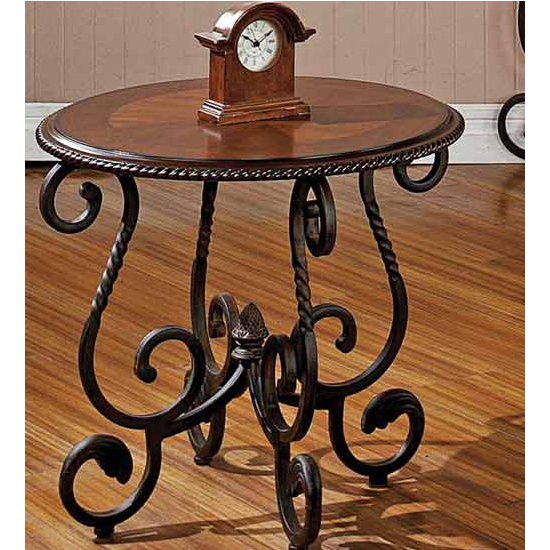 Steve Silver Crowley End Table, Cherry Finish