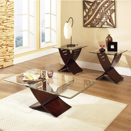 Steve Silver Cafe Living Room Set with 2 End Tables & Cocktail Table, Glass Top and Espresso Finish Base