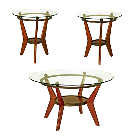 Steve Silver Saxony with 2 End Tables & Cocktail Table, Cherry Finish and Glass Top