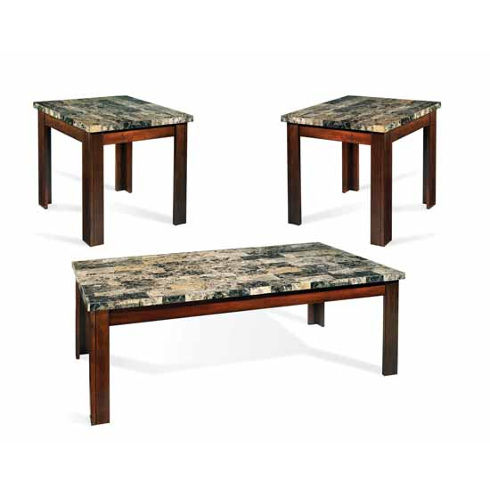Steve Silver Montibello 3-Pack with 2 End Tables & Cocktail Table, Marble Top and Cherry Finish
