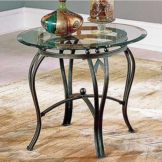Steve Silver Madrid End Table, Glass Top and Metal Base