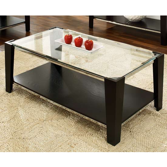 Steve Silver Newman Cocktail Table, Glass Top and Espresso Finish Base