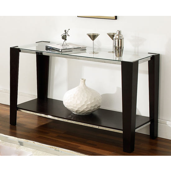Steve Silver Newman Sofa Table, Glass Top and Espresso Finish Base